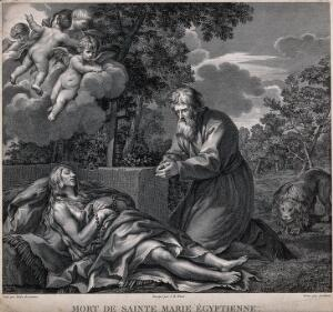 view Saint Mary of Egypt: her dead body is discovered by Saint Zosimas and a lion. Etching by Levillain after G.B. Wicar after Pietro Berrettini da Cortona.