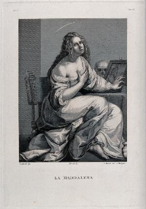 view Saint Mary Magdalen. Engraving by A. Marchi after F. Floridi after A. Gentileschi.
