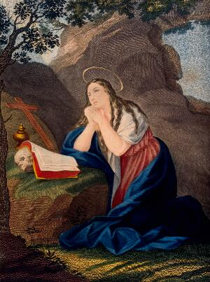 view Saint Mary Magdalen. Coloured engraving.