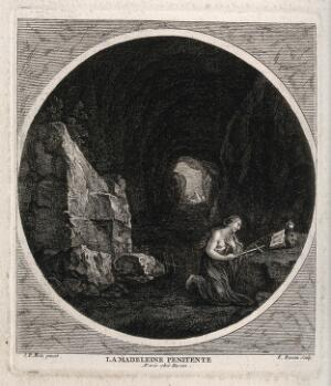 view Saint Mary Magdalen. Etching by F. Basan after P.F. Mola.