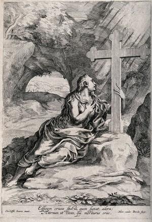 view Saint Mary Magdalen. Etching by H. van der Borcht after C. Schwartz.