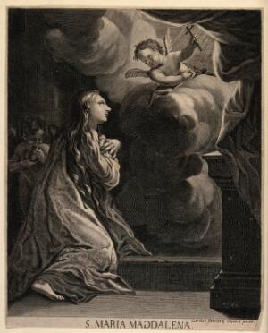 view Saint Mary Magdalen. Line engraving by C. Sinniany (?).