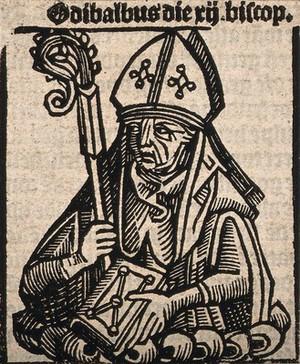 view Bishop Odibaldus. Woodcut.