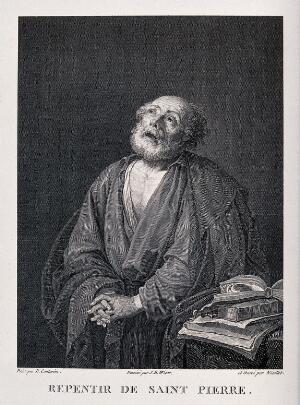 view Saint Peter repenting. Line engraving by B.A. Nicolet after G.B. Wicar after J. Ribera (?).