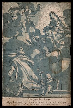 view Saint Philip Neri. Colour etching by the Comte de Caylus and N. Le Sueur after L. Garzi.