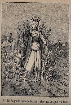 view Saint Radegund as patron saint of people with tuberculous lungs. Process print.