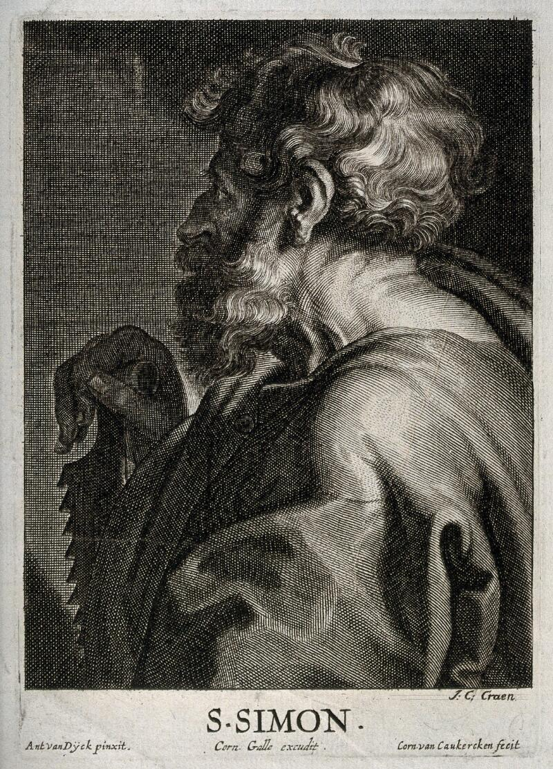 Corn Van Dijck.Saint Simon Line Engraving By C Van Caukercken After Sir A Van