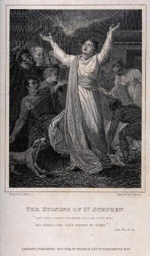 view Martyrdom of Saint Stephen. Engraving by C. Warren, 1816, after E. Bird.