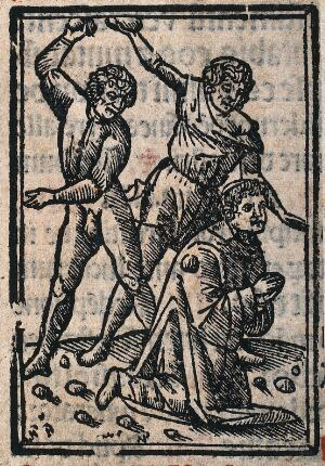 view Martyrdom of Saint Stephen. Woodcut.