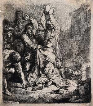 view Martyrdom of Saint Stephen. Etching by Rembrandt van Rijn, 1635.