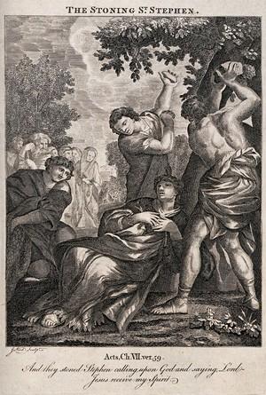 view Martyrdom of Saint Stephen. Etching by J. Kirk.