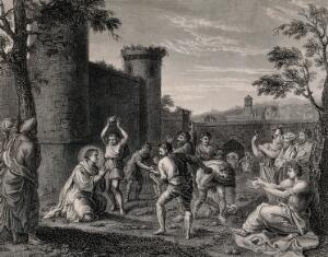 view Martyrdom of Saint Stephen. Engraving after Annibale Carracci.