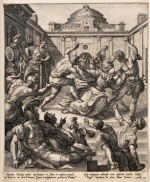 view Martyrdom of Saint Stephen. Engraving by P. Mariette, 1698.