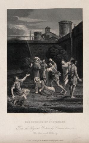 view Martyrdom of Saint Stephen. Engraving by H. Fernell after D. Zampieri, il Domenichino.