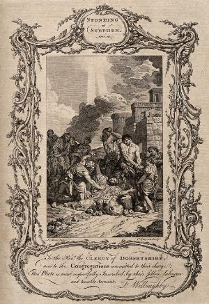 view Martyrdom of Saint Stephen. Engraving by C. Grignion after C. Lebrun.