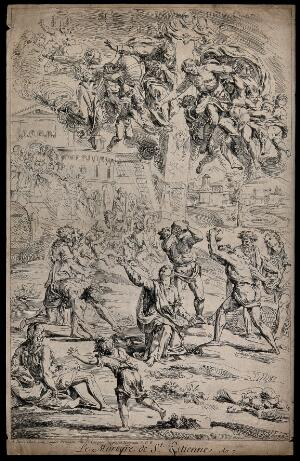 view Martyrdom of Saint Stephen. Etching F. Ertinger, 1683, after R. de Lafage.