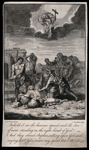 view Martyrdom of Saint Stephen. Etching by I. Carnitham after L.M. Dumesnil.