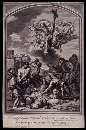 view Martyrdom of Saint Stephen. Engraving by C. Duflos after C. Lebrun.