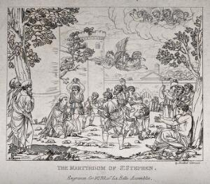 view Martyrdom of Saint Stephen. Etching after Annibale Carracci.