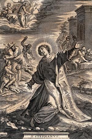 view Martyrdom of Saint Stephen. Engraving.