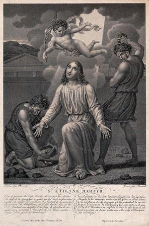 view Martyrdom of Saint Stephen. Stipple engraving by Renard after Duvivier.