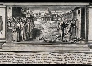 view Saint Sebastian. Engraving.