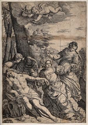 view Martyrdom of Saint Sebastian. Etching.