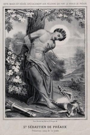 view Martyrdom of Saint Sebastian. Lithograph.