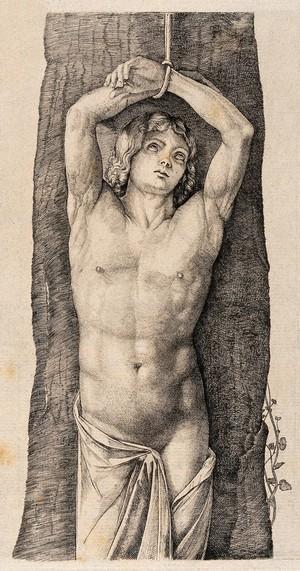 view Martyrdom of Saint Sebastian (?). Etching.