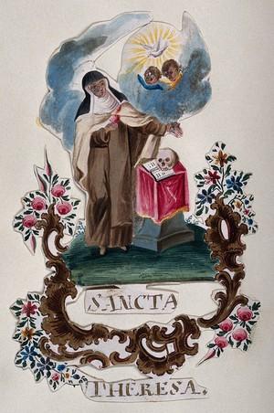 view Saint Teresa. Gouache painting.