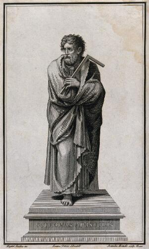view Saint Thomas. Line engraving by S. Bianchi after G. Petrini after Raphael.