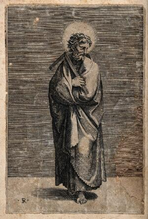 view Saint Thomas. Line engraving by M. Dente [Marco da Ravenna] after Raphael.