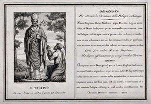 view Saint Trophimus. Engraving by L. Martolti.
