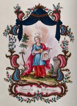 view Saint Veronica. Gouache painting.