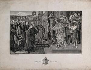 view Saint Wilfred (Wilfrid, Wilfrith) the Younger (of York): he petitions King Cædwalla of Wessex to grant him land, at Selsey, which is granted. Engraving by T. King, 1807.