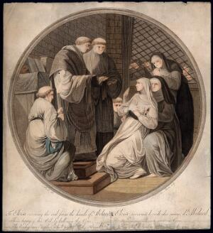 view Abelard and Eloise confessing their love to his brother monks and her sister nuns. Coloured stipple engraving by Miss Martin after B. Pernotin.
