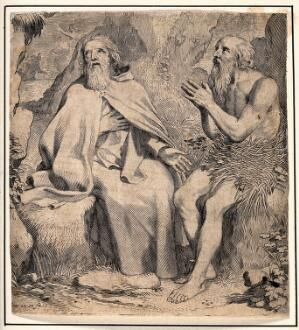 view Saint Antony the Great and Saint Paul the Hermit. Engraving by C. Mellan.