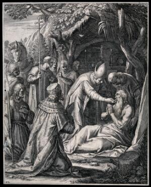 view Saint Paul the Hermit and Saint Antony the Great with other figures. Engraving.