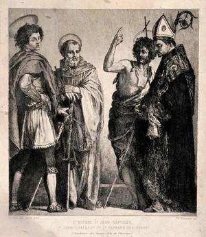 view Saint Michael, Saint Bernard, Saint John the Baptist and Saint John Gualbert. Etching by C.J.L. Courtry after A. del Sarto.
