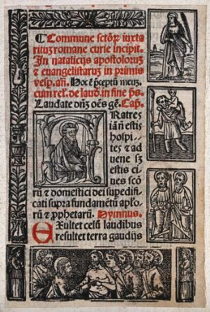 view Saint Paul the Apostle, a female saint, Saint Christopher, Saint Peter the Apostle, and Christ with six of the Apostles. Woodcut.