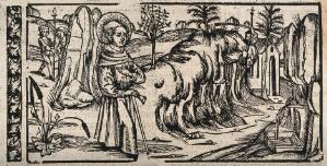 view A male saint. Woodcut.
