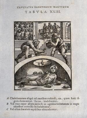 view Martyrdom of Christian saints by being shut up to be bitten by mice or rats, crowded together like locusts, or trampled by horses. Woodcut.