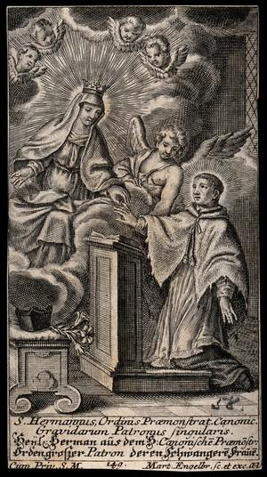 view Saint Hermann Josef of Steinfeld as patron of pregnant women. Engraving by M. Engelbrecht, 17--.