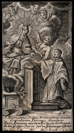 view Saint Hermann Josef of Steinfeld as patron of pregnant women. Engraving by M. Engelbrecht, 17--.