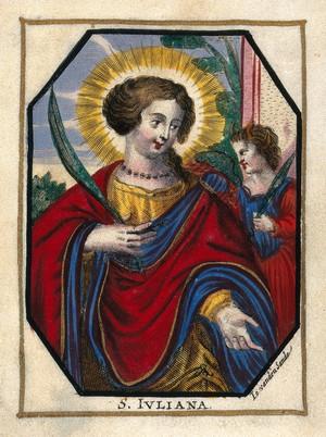 view Saint Juliana. Coloured engraving by J. van den Sande.