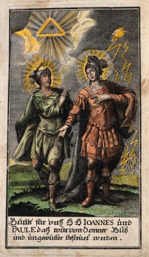 view Saint John and Saint Paul as protectors against storm, thunder and lightning. Coloured engraving.