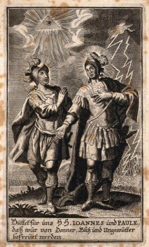 view Saint John and Saint Paul as protectors against storm, thunder and lightning. Engraving.