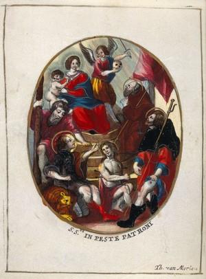view The Virgin with Christ Child, the Archangel Michael and the plague saints, Saint Christopher, Saint Anthony Abbot, Saint Adrian, Saint Sebastian and Saint Roch. Coloured engraving by T. Van Merlen.
