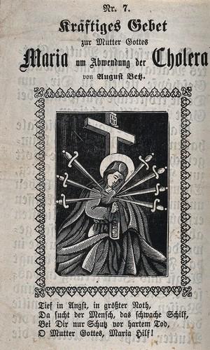 view The Virgin of Sorrows. Woodcut.
