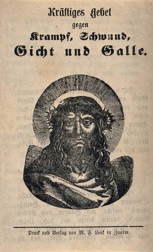 view Christ as Man of Sorrows. Wood engraving.